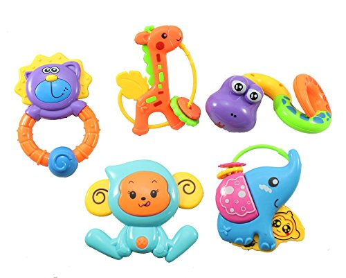 Vibgyor Vibes™ 5 PCS Lovely Colourful Rattle Toys For Toddler Based on theme of Jungle Animals. For Baby/Toddler/Infant/Child . Pack Of 5