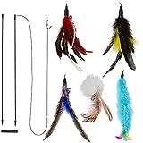 Chat de Plume Training interactif Naturelles Wand Cat Toy avec 5 recharges de plumes