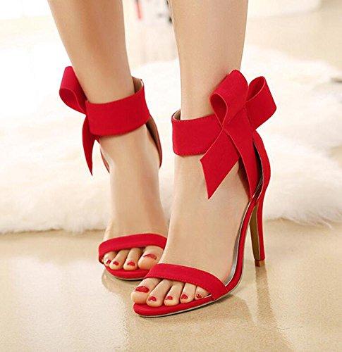 Wealsex Escarpins Sandales Suédé Nœud à Deux Boucles Talon Moyen Aiguille Cheville Bout Ouvert Chaussure Talon Sexy Ete Femmes Rouge