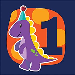 Little Dino 1st Birthday Party Napkins - Pack of 16 - 33cm