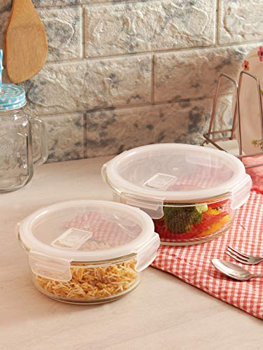 Femora Borosilicate Round Glass Food Storage Container with Air Vent Lid - 580 , 940 ml (Set of 2)