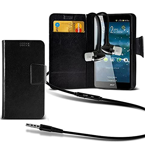 ( Black +Earphones) Case for BLU Dash X2 case cover pouch High Quality Thin Faux Leather Suction Pad Wallet case Cover Skin With Credit/Debit Card Slots With Premium Quality in Ear Buds Stereo Hands Free Headphones Headset with Built in Micro phone Mic and On-Off Button BLU Dash X2 case by i-Tronixs