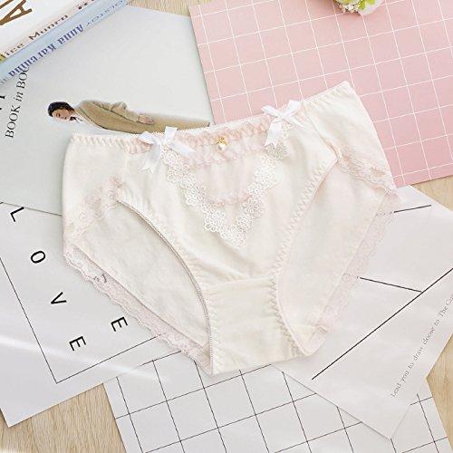 Doppel Taille Jean (Rey&qing Baumwolle Unterwäsche Slip Taille Studentinnen, Jeans Code 26-29, Doppel Bow Tie White)