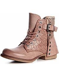 AgooLar Damen Artifizielles Büffelleder Niedrig-Spitze Schnüren Stiefel mit Metall Schnalle, Schwarz, 37