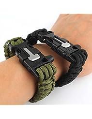 topways® Pack de dos paracaídas de supervivencia pulsera Flint Fire Starter Raspador Silbato Gear Kits Outdoor (Negro & Verde) Black & Army Green