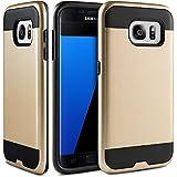 Coque Galaxy S7 Edge, BEZ® étui de Protection Antichocs - Combo Coques de Protection Dures et Souples Hybride en Caoutchouc Haut Impact Defender pour Samsung Galaxy S7 Edge (2016) - Or