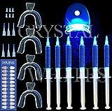 CRYSTAL WHITES 5 Gel Zahnbleichen Pro Set für Zuhause Inkl. Laserlicht und 4 X Zahnschienen Professionelles Zahnbleichen