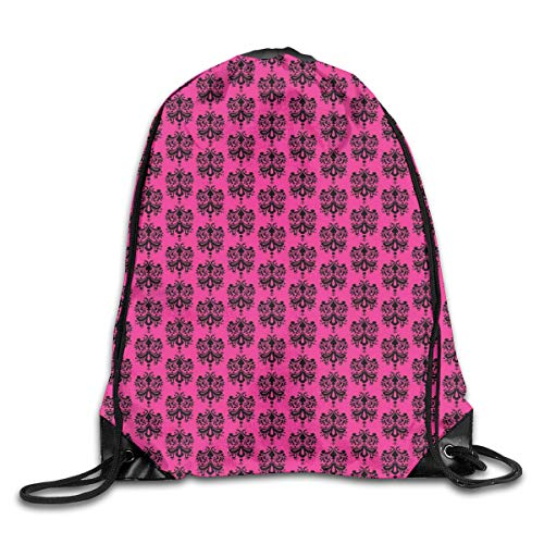 2f41e72aa91cf Drawstring Backpack Gym Bags Storage Backpack, Eastern Themed Ethnic  Oriental Black Damask Design on A Hot Pink Backdrop,Deluxe Bundle Backpack  ...