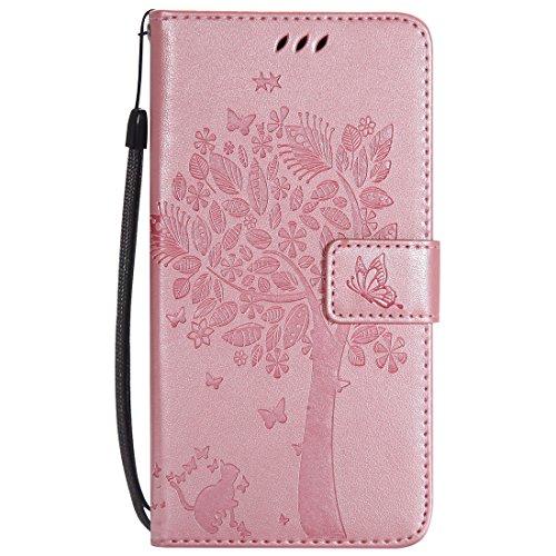Mioc Xiaomi Mi Mix 2 Funda, Funda de Cuero para teléfono Diseño de gofrado Gato y árbol con Ranura para Tarjeta de Billetera y Hebilla magnética Estuche, Oro Rosa