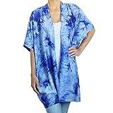 BRANDELIA Sommer Tunika Kimono Batik Print in blau mit sehr angenehm weichem Jersey Stoff. Toller Casual Look für Sommertage, Urlaub, Strand und Meer. Boho Chic für Frauen, limitierte Edition.