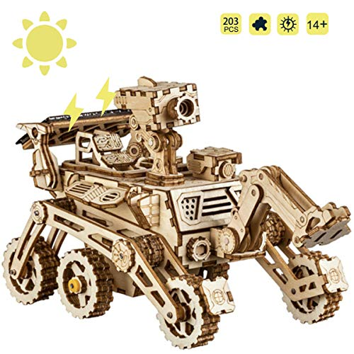 ROKR Solar Powered Toy Car-3D Puzzle de Madera Kits de Modelo - Juguetes Educativos con Energia Solar-Kit de construcción de Modelo mecánico para Adolescentes y Adultos (Curiosity Rover)