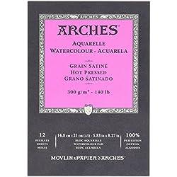 Arches 795095 Pad Aquarelle Grain Satin Naturel Blanc 300G A5 12P, Bois