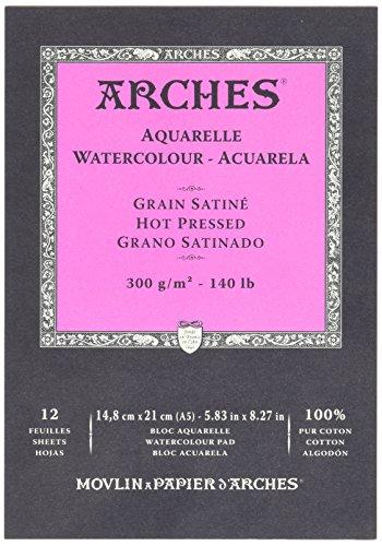 Arches 1795099 Aquarellpapier im Block, 16 Blatt, A5 42 x 29,7 cm Kopfgeleimt 300 g/m², Satiniert,...