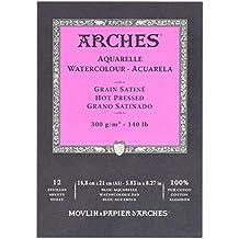 Arches 1795099 Aquarellpapier im Block, 16 Blatt, A3 42 x 29,7 cm Kopfgeleimt 300 g/m², Satiniert, naturweiß