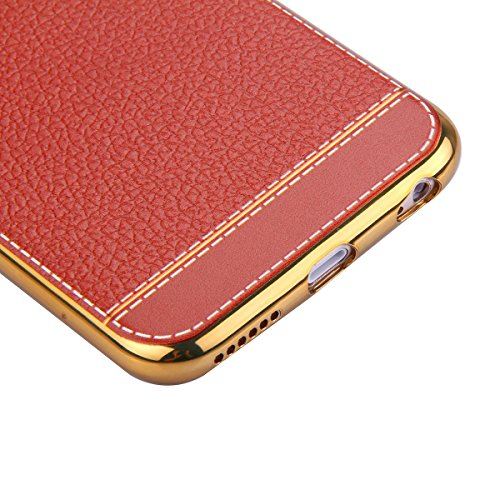 Coque Etui pour iPhone 6/6S, iPhone 6S Coque Portefeuille Soft Etui, iPhone 6 Coque de Protection Etui Housse,iPhone 6/6S Silicone Plating Case Wallet Protective Cover Protector, Ukayfe Etui de Protec Brun