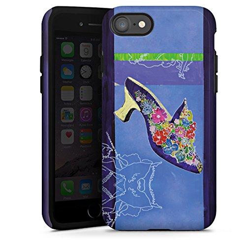 Apple iPhone X Silikon Hülle Case Schutzhülle Schuh Blumen Muster Tough Case glänzend