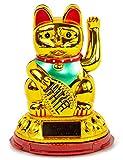 Nick and Ben Winke-Katze Glücks-Bringer Solar-Katze Wackel-Figur in Gold
