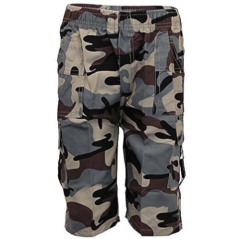 Garçons Camouflage Short Cargo Combat Enfants 3/4 Longueur Militaire Sport Été - Gris - ZH104, Size 10 - 7/8 Years