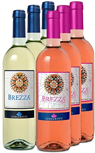 6er Vorteilspaket - Bianco e Rosa - 6 frische Brezza Sommerweine von Lungarotti | Weißwein und...