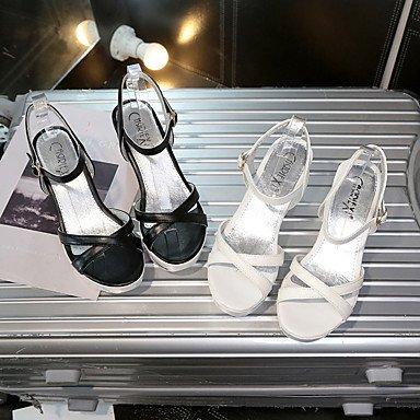LvYuan Da donna Sandali PU (Poliuretano) Estate Footing Fibbia Zeppa Bianco Nero 5 - 7 cm White