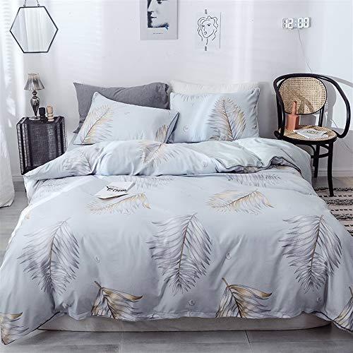 UOUL Bettwäsche Set Seide Tencel Bettwäsche 4 Stück Weich Verblasst Nicht Komfort Männer Und Frauen Schlafzimmer Grau Full \ Königin,Gray,King -