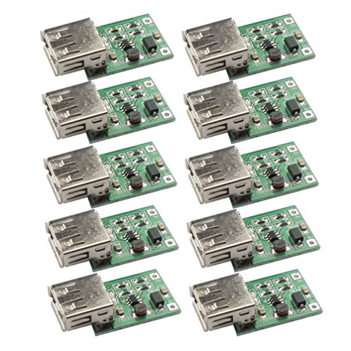DOITOOL 10pcs Boostmodul 0 9V-5v Schritt bis 600 mA USB Ladegerät verstärken Platine Stromversorgungsmodul (grün) 5v