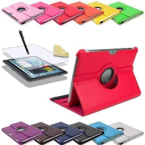 3in1 SET 360° Edle Schutztasche für Samsung Galaxy Tab 2 10.1 P5100 P5110 + Folie + Pen Tasche Etui Hülle (Rot)