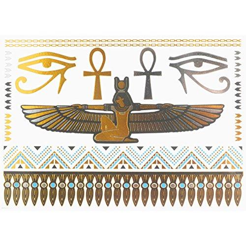 emporäre Tattoo ägyptisch Cleopatra Ankh Kreuz Auge Horus Fake Gefälscht Schmuck Gold Silber (Walmart Halloween-make-up)
