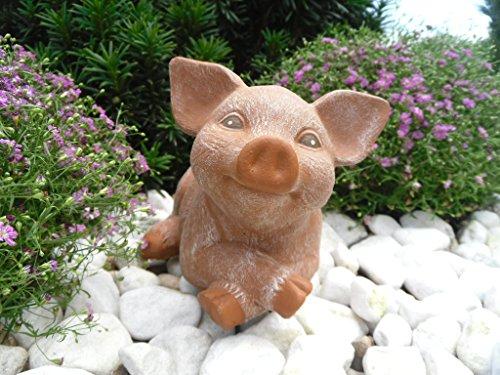 Steinfigur Schwein, 126 Ferkel, Gartenfigur Steinguss Tierfigur Terrakotta Patina