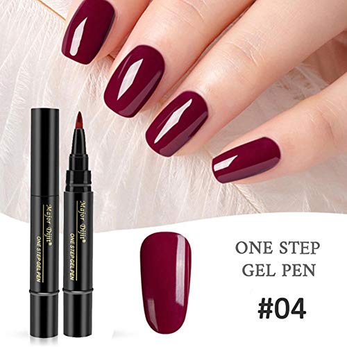 Stylo de Vernis à Ongles 3 en 1, Stylo de Vernis à Ongles en Gel One Step Gel, Pas Besoin de Couche de Finition, Soak Off UV Kit de Vernis à Ongles Vernis à Ongles (Multi-couleurs)
