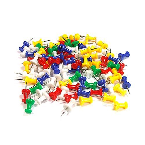 JER 100pcs coloré Mini chinchetas Tarjeta Tacks chinchetas con los Jefes de plástico y Acero Puntos de Color Varios Productos/Herramientas/Décors para maision