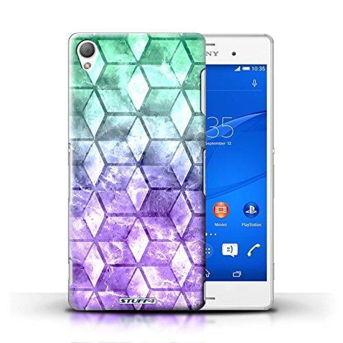 Kobalt® Imprimé Etui / Coque pour Sony Xperia Z3 / Violet / Orange conception / Série Cubes colorés Vert/Violet