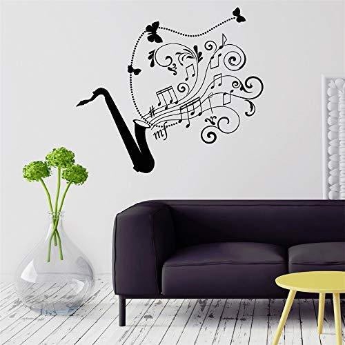 wlwhaoo Wandtattoo Saxophon Jazz Musik Kunst Musikinstrument Vinyl Aufkleber grau 72x78cm