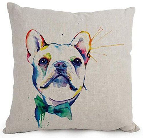 Cotton Linen Cartoon Lovely Animal Abstract Oil Painting Adorable Pet Dogs French Bulldog Throw Pillow Covers Cushion Cover Decorative Sofa Bedroom Living Room Square 18 Inches