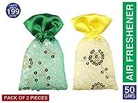 Miracle Perfume Potli, Musk and Sandal Fragrance Car Air Freshener,Set of 2 Pieces,Green & Yellow,109g