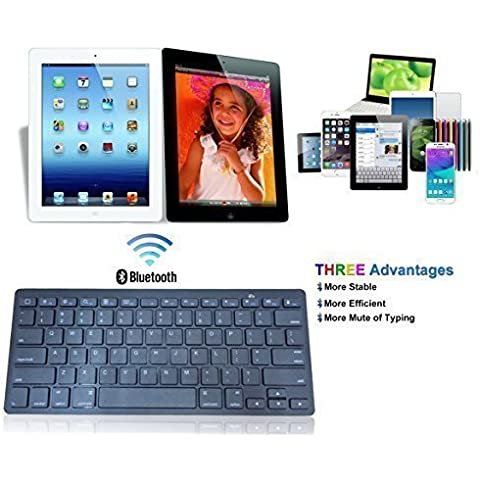 Bluetooth teclado ultradelgado para iPhone6/6Plus, iPad Air 2/Air, iPad Mini 3/Mini 2/Mini, iPad 4/3/2, sistema de sistemas de Apple, Samsung, todos los teléfonos Bluetooth negro