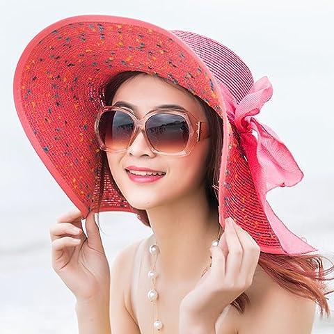 Beach Hat, Summer Sun Hat, Sunscreen, Large Folding Straw Hat, Anti Ultraviolet Beach,Little Adult Money (Around 58Cm),Watermelon (Baby In Watermelon Kostüm)