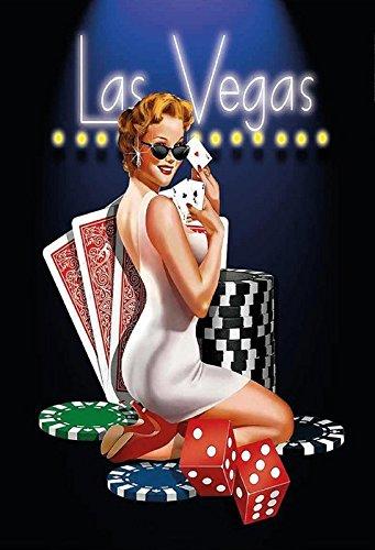 Schatzmix Poker Pinup Pinup sexy Frau las Vegas Metal Sign deko Sign Garten Blech -