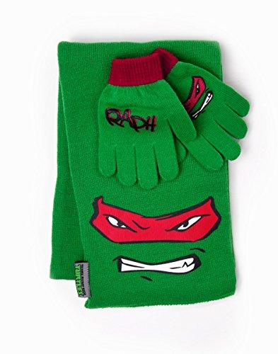 Turtles Winterset Schal und Handschuhe für Kinder Teenage Mutant Ninja Turtles TMNT Raphael Scarf & Gloves