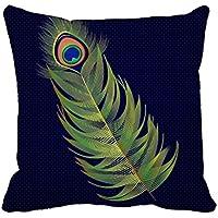 Okoukiu tela di cotone bella piuma di pavone federa copricuscino