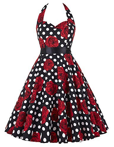 GRACE KARIN® Women's Retro 50s Halterneck Rockabilly Dress Floral Pattern Swing Skater Dress 20Colors Test