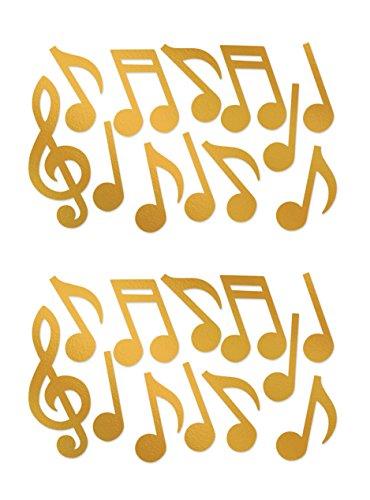 Beistle 55295-GD Foil Musical Note Silhouettes Party-Deko, Papier, gold