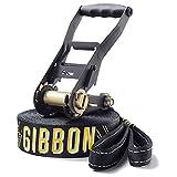 Gibbon Slacklines Jibline, Schwarz, 15 Meter, 12,5m Band + 2,5m Ratschenband, Jumpline, Trickline, Fortgeschrittene, inklusive Ratschenschutz und Ratschenrücksicherung, 50 mm breit, perfekter Freizeitsport