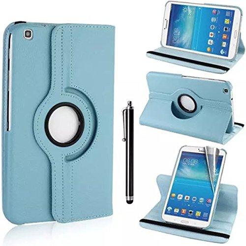 Samsung Galaxy Tab 3 8.0 Case - Hellblau PU Leder Schutz Hülle 360° drehbar Case für Samsung Galaxy Tab 3 8.0 Zoll SM-T310 Lederhülle Tasche Flip Cover Etui Grün Schutzhülle mit Schwenkbar flexiblem Ständer + Displayschutzfolien und Stylus