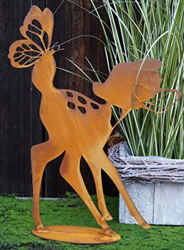 Dekostüberl Edelrost Rehkitz mit Schmetterling 30x23cm, inkl. Herz 8x6cm auf Bodenplatte Figur Gartendeko