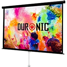 Duronic (Renewed) MPS100/169 Manual Pull Down HD Projection Screen for | School | Theatre | Cinema | Home Projector Screen - 100-16:9 - Wall Ceiling mountable