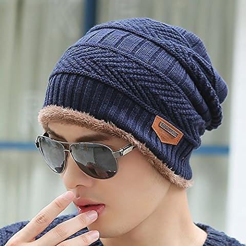 Dngy*L'inverno uomini cappelli marea maglia hat maglia fitta hat fall winter kit cappuccio di testa Baotou Cap Giovane Mo , Navy