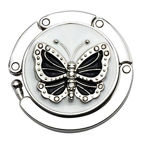 jewelbeauty Schmetterling Runde Geldbörse Haken-Faltbare Handtasche Aufhänger Sicherer von Tasche, hochklappen für einfache Lagerung, Klapptisch Aufhänger white #6 -