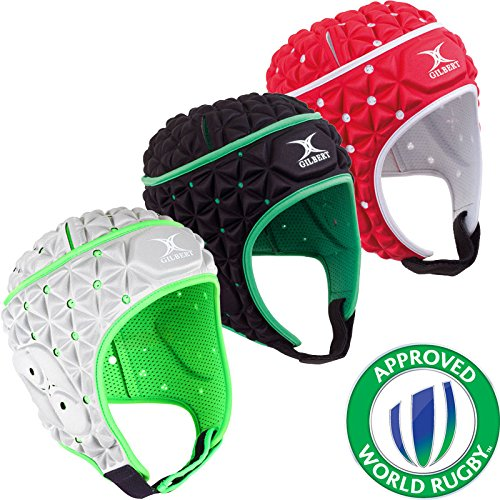 Sports Innovation LTD Gilbert Rugby Ignite Head Guard Scrum Cap Hat (red/White/Black) (Black, Large)