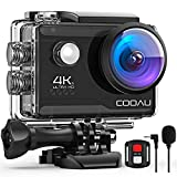 COOAU 4K Action Cam 20MP WiFi Sports Kamera Unterwasserkamera 40m mit Externs Mikrofon Fernbedienung Helmkamera Wasserdicht Digitale Videokamera mit EIS Stabilisierung (4K 20MP)